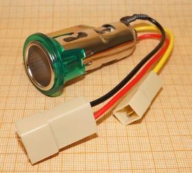 Гнездо прикуривателя под входной диаметр 20мм с зелёной подсветкой, № 1328 гн пит прикур \3L\12В 8А\пан\ILзел\