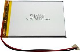 LP426090-PCM, Аккумулятор литий-полимерный (Li-Pol) 3000мАч 3.7В, с защитой, PoliCell