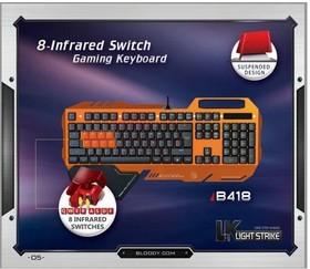 Клавиатура A4 Bloody B418, USB, c подставкой для запястий, серый