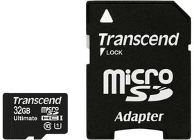 Карта памяти microSDHC UHS-I TRANSCEND Ultimate 32 ГБ, Class 10, TS32GUSDHC10U1, 1 шт., переходник SD