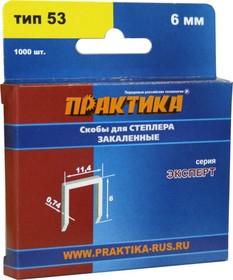 Скобы для степлера ПРАКТИКА 775-365 6мм, тип 53 (0.7х11.4мм), 1000шт., Эксперт