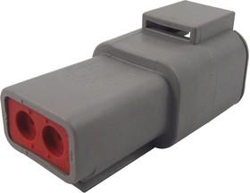 DTP04-2P-C015, Корпус разъема, IP68, DTP Series, Гнездо, 2 вывод(-ов), 6.71 мм, Штыревыми контактами серии DTP