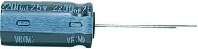 UVR1E101MED1TD, Электролитический конденсатор, 100 мкФ, 25 В, UVR Series, ± 20%, Радиальные Выводы, 6.3 мм