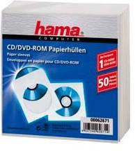 Фото 1/2 Конверт Hama на 1CD/DVD H-62671 белый (упак.:50шт)
