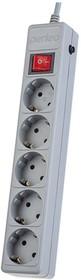 Сетевой фильтр POWER+ 5 0м 5 розеток серый 30012494