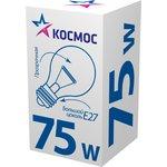 Лампа накаливания КОСМОС 75 Ватт, груша прозрачный E27