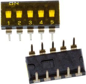 DI-F05, Dip-переключатель гермет. 5поз. 2.54мм 24В/25мА