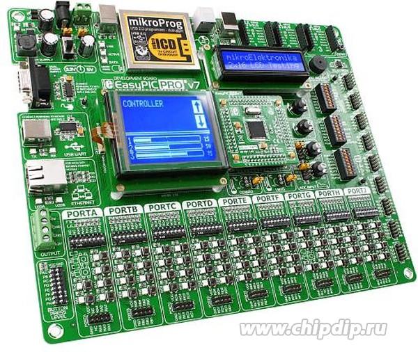 ME-EasyPIC PRO v7 - полнофункциональная отладочная плата для многовыводных 8-битных PIC микроконтроллеров компании...