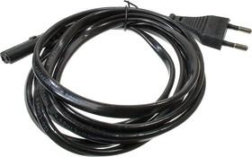 Шнур питания для РЭА,2х0.75кв.мм, 1.80м, черный