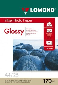 Бумага Lomond 102143 A4/170г/м2/25л./белый глянцевое для струйной печати [0102143]