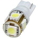 T10-WG-5SMD-W-12V, LED лампа белая T10 Wedge 5*SMD5050