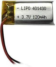 LP401430-PCM, Аккумулятор литий-полимерный (Li-Pol) 120мАч 3.7В, с защитой, PoliCell