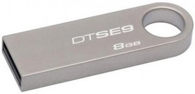 Флешка USB KINGSTON DataTraveler SE9 8Гб, USB2.0, серебристый [dtse9h/8gb]