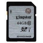 Карта памяти SDXC KINGSTON 64 ГБ, Class 10, SD10VG2/64GB, 1 шт.