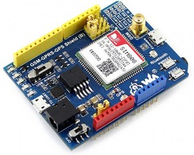 Фото 1/2 GSM/GPRS/GPS Shield (B), Плата расширения для Arduino на основе SIM808 для приема и отправки GSM/GPRS/ GPS/Bluetooth-данных