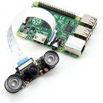"""Фото 4/5 RPi Camera (H), Камера для Raspberry Pi Model B+/2/3,регулируемый фокус, объектив""""рыбий глаз"""",160гр, ИК-подсветка"""