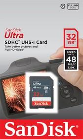 Карта памяти SDHC UHS-I SANDISK Ultra 48 32 ГБ, 48 МБ/с, 320X, Class 10, SDSDUNB-032G-GN3IN, 1 шт.