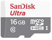 Карта памяти microSDHC UHS-I SANDISK Ultra 16 ГБ, 48 МБ/с, 320X, Class 10, SDSQUNB-016G-GN3MA, 1 шт., переходник SD