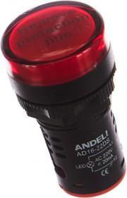 Фото 1/5 Лампа AD16-22DS LED матрица d22мм красный 220В AC ADL10-143