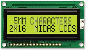MC21605H6WR-SPTLY-V2, Буквенно-цифровой ЖКД, 16 x 2, Черный на Желтом / Зеленом, 5В, Параллельный, Английский, Кириллица