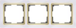 WL03-Frame-03-white-GD/ Рамка на 3 поста (белый/золото)