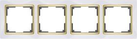 WL03-Frame-04-white-GD/ Рамка на 4 поста (белый/золото)