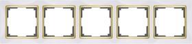 WL03-Frame-05-white-GD/ Рамка на 5 постов (белый/золото)
