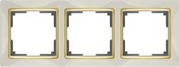 WL03-Frame-03-ivory-GD/ Рамка на 3 поста (слоновая кость/золото)