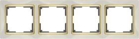 WL03-Frame-04-ivory-GD/ Рамка на 4 поста (слоновая кость/золото)