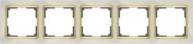 WL03-Frame-05-ivory-GD/ Рамка на 5 постов (слоновая кость/золото)