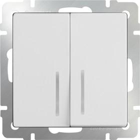 WL01-SW-2G-2W-LED/ Выключатель двухклавишный проходной с подсветкой (белый)
