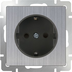 WL02-SKGS-01-IP44 / Розетка с заземлением и шторками (глянцевый никель)