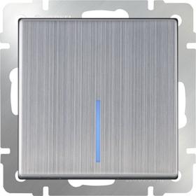 WL02-SW-1G-2W- LED/Выключатель одноклавишный проходной с подсветкой (глянцевый никель)