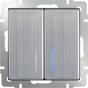 WL02-SW-2G-2W-LED /Выключатель двухклавишный проходной с подсветкой (глянцевый никель)