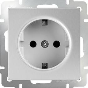 WL06-SKG-01-IP20/ Розетка с заземлением (серебряный)