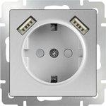 WL06-SKGS-USBx2-IP20 / Розетка с заземлением, шторками и USBх2 (серебряный)