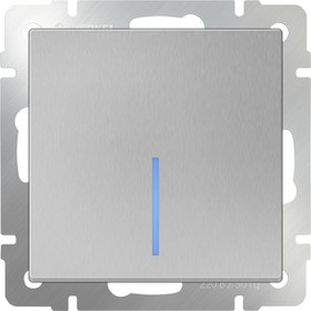 WL06-SW-1G-2W- LED/Выключатель одноклавишный проходной с подсветкой (серебряный)