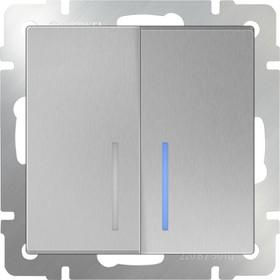 WL06-SW-2G-2W- LED/Выключатель двухклавишный проходной с подсветкой (серебряный)
