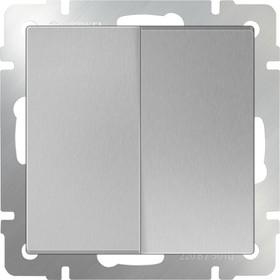 WL06-SW-2G-2W/Выключатель двухклавишный проходной (серебряный)