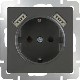 WL07-SKGS-USBx2-IP20 / Розетка с заземлением, шторками и USBх2 (серо-коричневый)