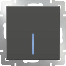 WL07-SW-1G-2W- LED/Выключатель одноклавишный проходной с подсветкой (серо-коричневый)