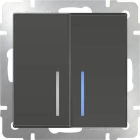 WL07-SW-2G-2W- LED/Выключатель двухклавишный проходной с подсветкой (серо-коричневый)