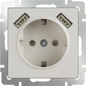 WL03-SKGS-USBx2-IP20 / Розетка с заземлением, шторками и USBх2 (слоновая кость)