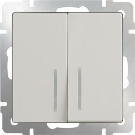 WL03-SW-2G-LED-ivory /Выключатель двухклавишный с подсветкой (слоновая кость)