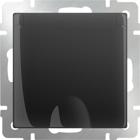 WL08-SKGSC-01-IP44 /Розетка влагозащ. с зазем. с защит. крышкой и шторками (черный матовый)