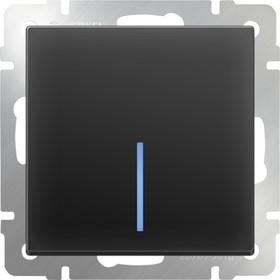 WL08-SW-1G-2W- LED/Выключатель одноклавишный проходной с подсветкой (черный матовый)