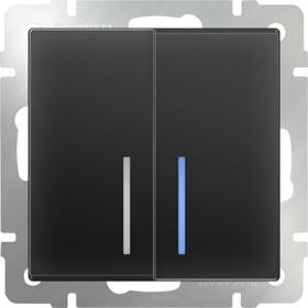 WL08-SW-2G- LED/Выключатель двухклавишный с подсветкой (черный матовый)