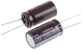 Фото 1/2 UPS1V222MHD, Cap Aluminum Lytic 2200uF 35V 20% (16 X 31.5mm) Radial 7.5mm 2350mA 3000h 105°C Bulk
