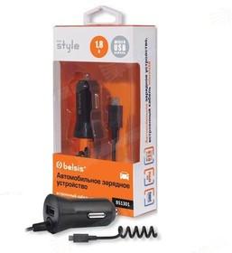 BS1301, Автомобильное зарядное устройство 1 USB, 1,8 A, дата-кабель с разъемом microUSB, черный