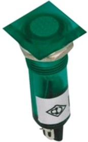 N-XD10-2-G, Лампа неоновая с держателем зеленая 220VAC